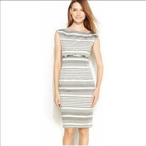 Calvin Klein silver and white striped dress
